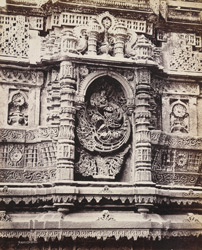 Close view of carved niche on the north minaret of the Malik Sarang Mosque or Queen's Mosque, Sarangpur, Ahmadabad